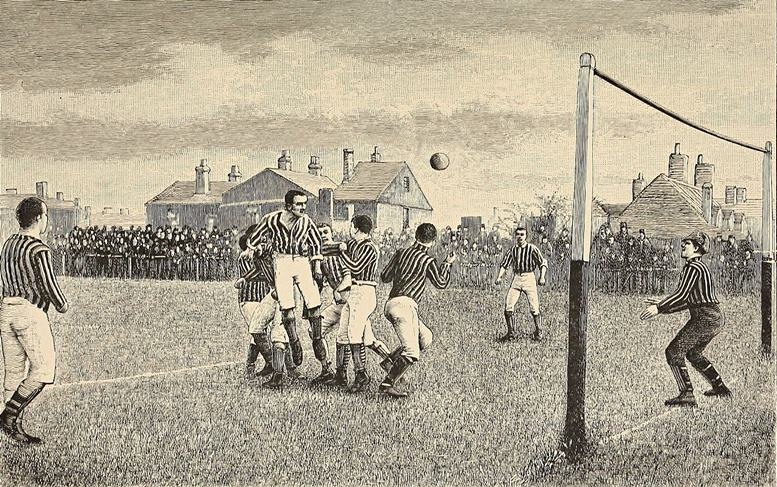 Fußballmatch in England, um 1890